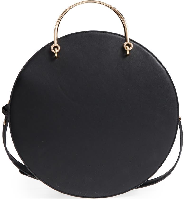 MALI + LILI Vegan Leather Round Top Handle Bag, Main, color, 001