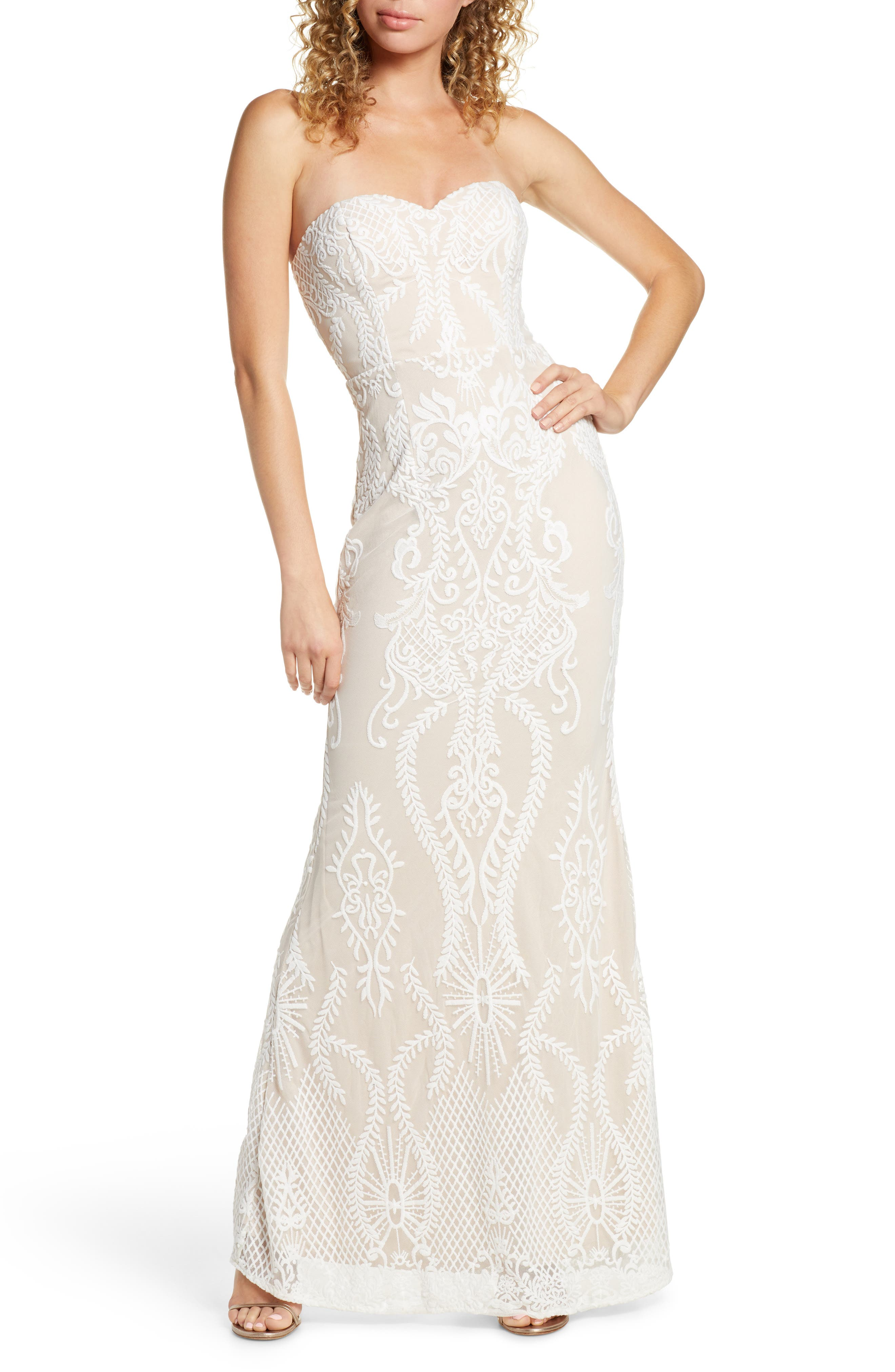 Lulus You Belong With Me Strapless Embroidered Mesh Evening Gown, White