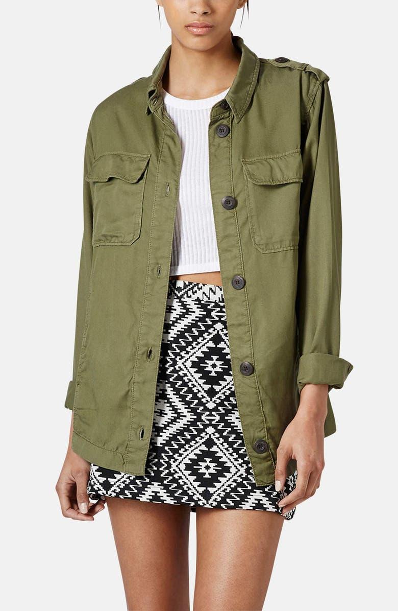 TOPSHOP 'Rufus Shackett' Army Jacket, Main, color, 340