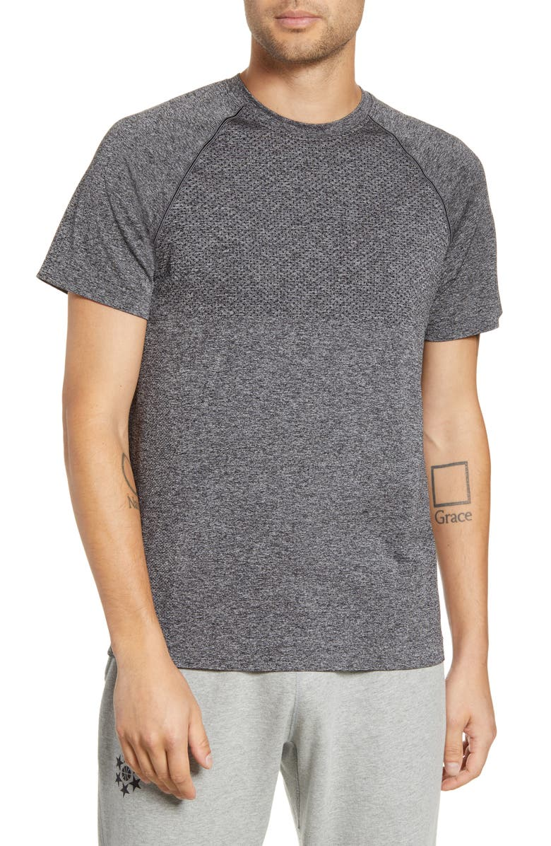 REIGNING CHAMP Engineered Knit Performance Training T-Shirt, Main, color, HEATHER CHARCOAL