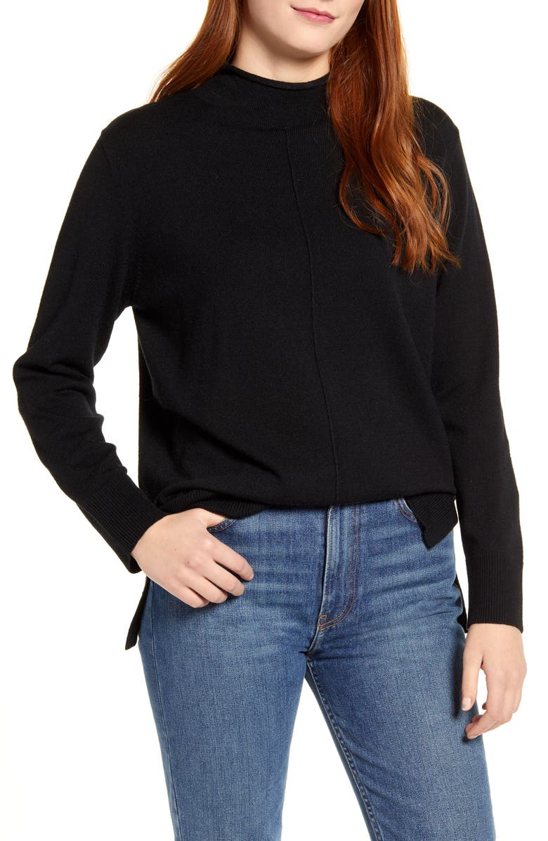 CENY Side Slit Sweater, Main, color, BLACK
