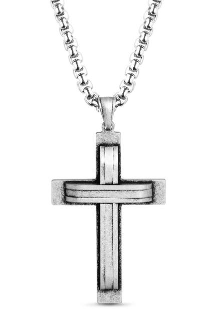 Image of Steve Madden Oxidized Stainless Steel Cross Curb Chain Necklace