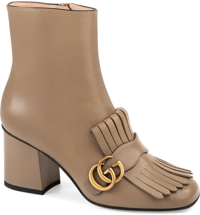 GUCCI GG Marmont Fringe Bootie, Main, color, MUD