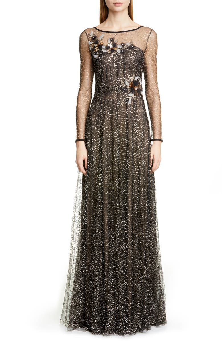 MARCHESA NOTTE Long Sleeve Shimmer Tulle Gown, Main, color, BLACK