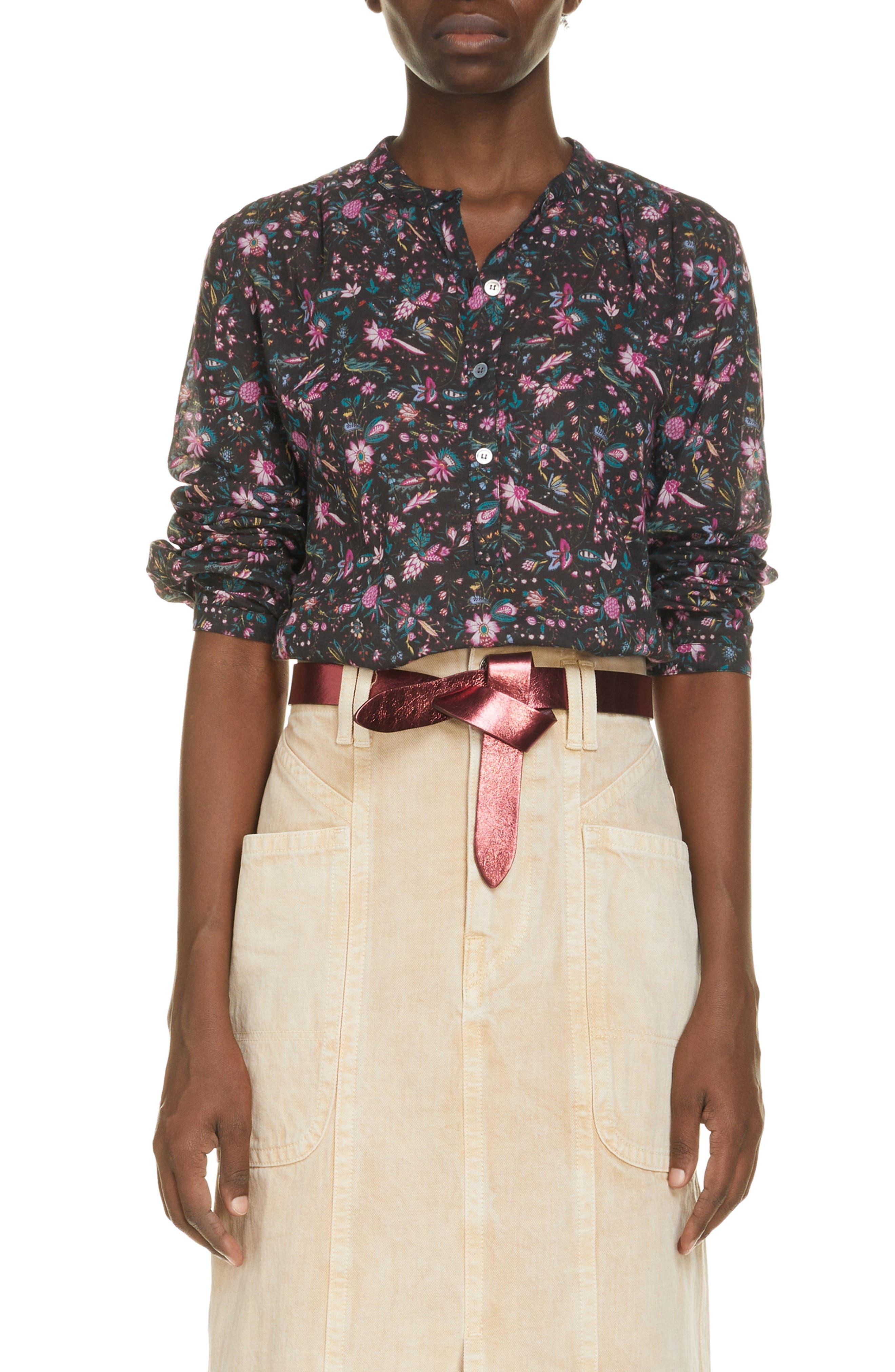 Women's Isabel Marant Etoile Mexika Floral Cotton Popover Blouse