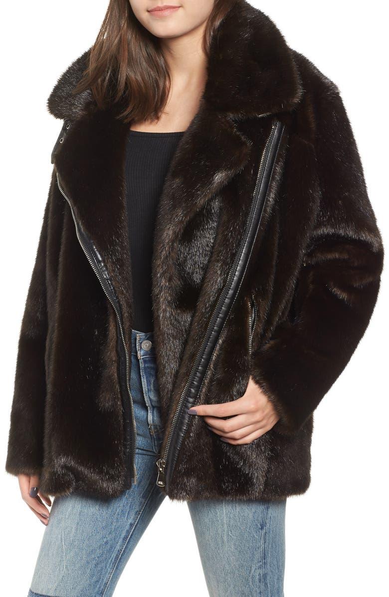 KENDALL + KYLIE Oversize Faux Mink Fur Moto Jacket, Main, color, 200
