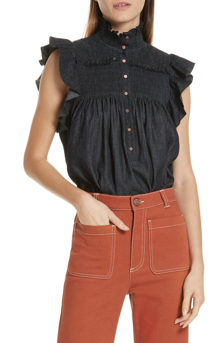 d7706a1bd5e08 See by Chloé Smocked Ruffle Sleeve Chambray Top   Nordstrom