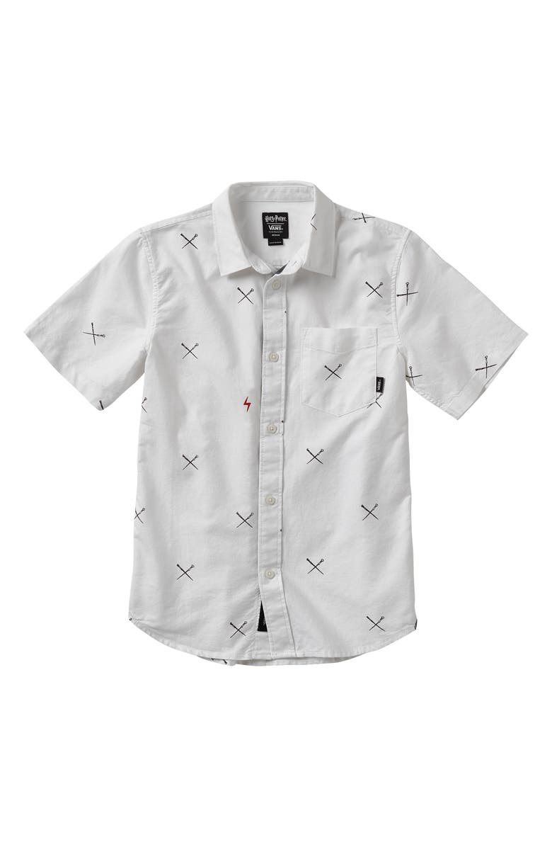 VANS x Harry Potter<sup>™</sup> Spells Houser Woven Shirt, Main, color, WHITE