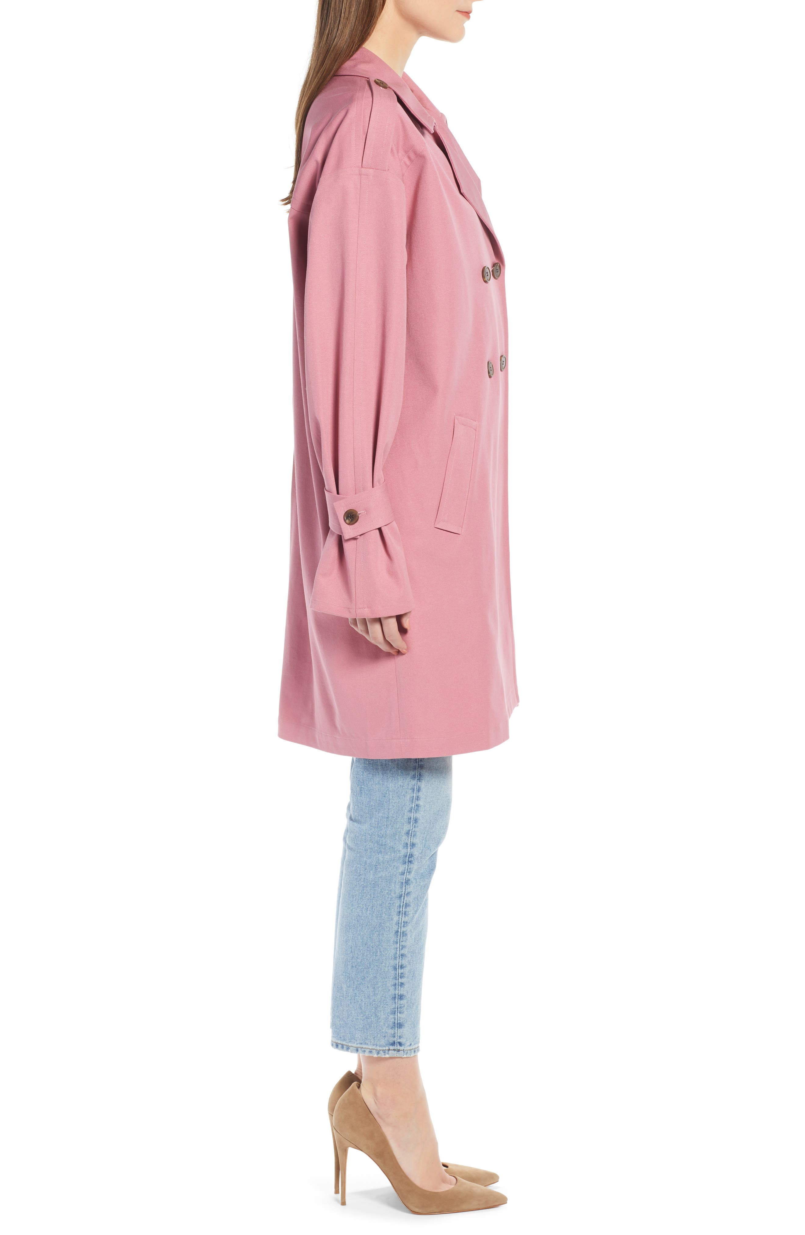 ,                             Easy Oversize Trench,                             Alternate thumbnail 5, color,                             PINK HEATHER