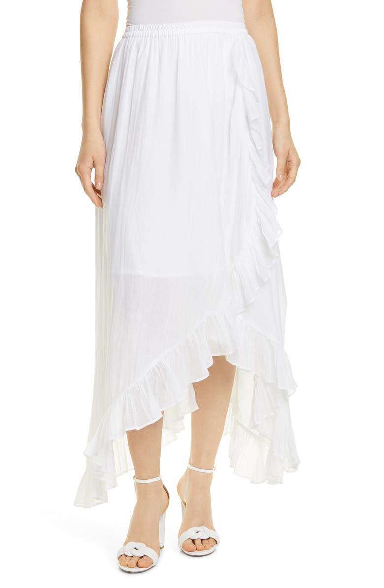 MES DEMOISELLES Otello Cascade Ruffle Cotton Skirt, Main, color, IVORY