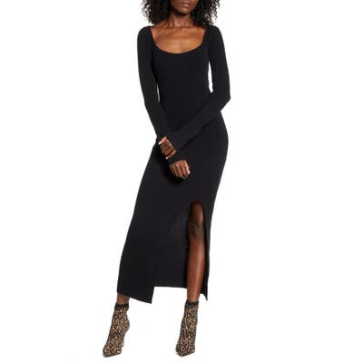 Leith Square Neck Long Sleeve Sweater Dress, Black