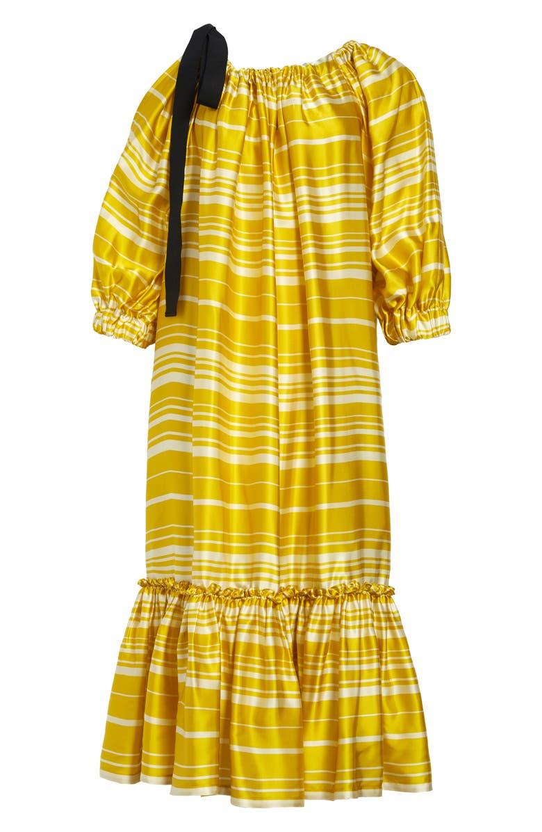 DRIES VAN NOTEN Stripe Balloon Sleeve Flounce Shift Dress, Main, color, 700