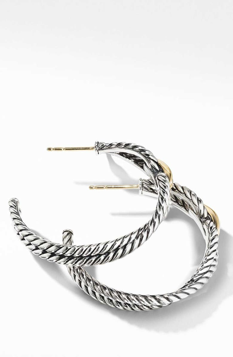 33703ddf4 Cable Loop Hoop Earrings with 18K Gold, Main, color, YELLOW GOLD/ STERLING