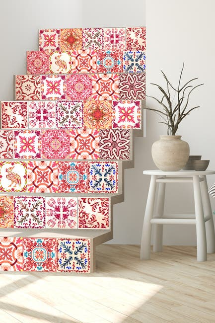 Image of WalPlus Red Moroccan Rose Mosaic Wall Sticker Decal