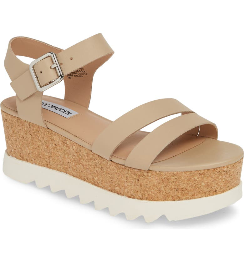 STEVE MADDEN Keykey Platform Wedge Sandal, Main, color, NATURAL LEATHER