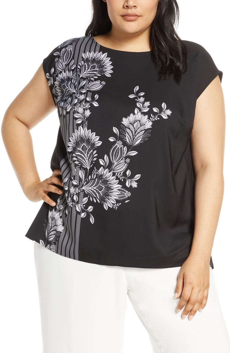 VINCE CAMUTO Ornate Melody Blouse, Main, color, RICH BLACK