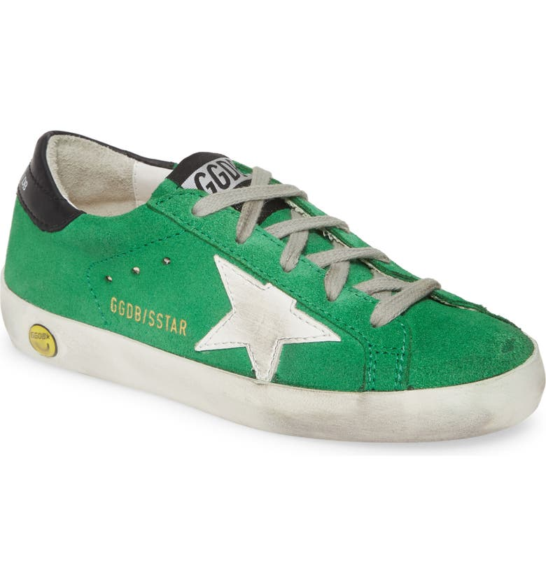 GOLDEN GOOSE Superstar Low Top Sneaker, Main, color, GREEN SUEDE-WHITE STAR