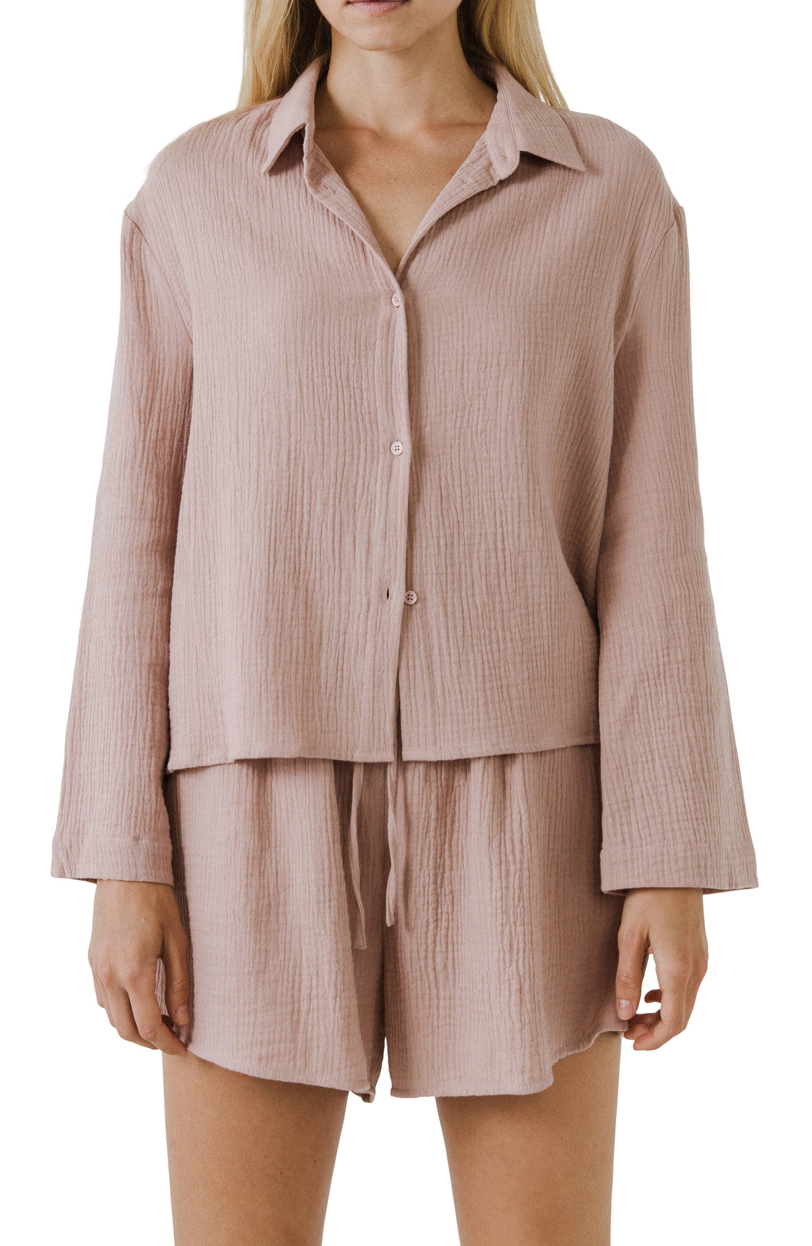 Cotton Gauze Button-Up Shirt
