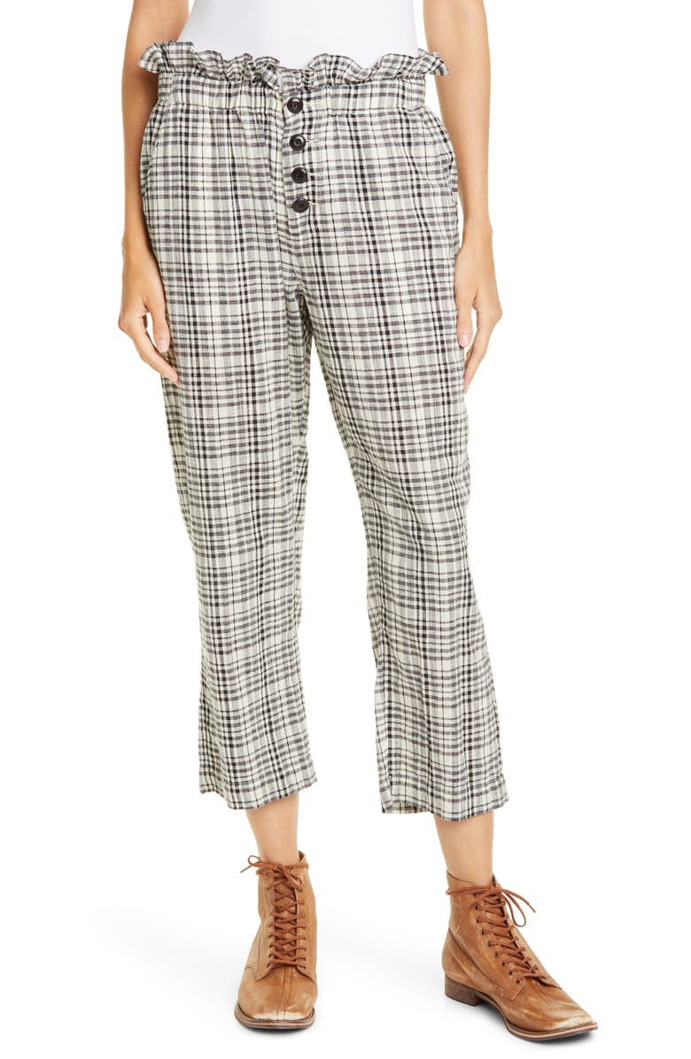 THE GREAT. The Gunny Sack Plaid Paperbag Waist Trousers, Main, color, 001