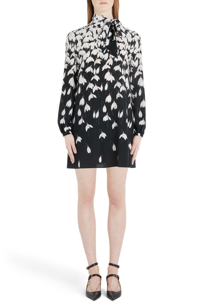 VALENTINO Bucaneve Tie Neck Silk Minidress, Main, color, K92-BLACK/ MULTICOLOR