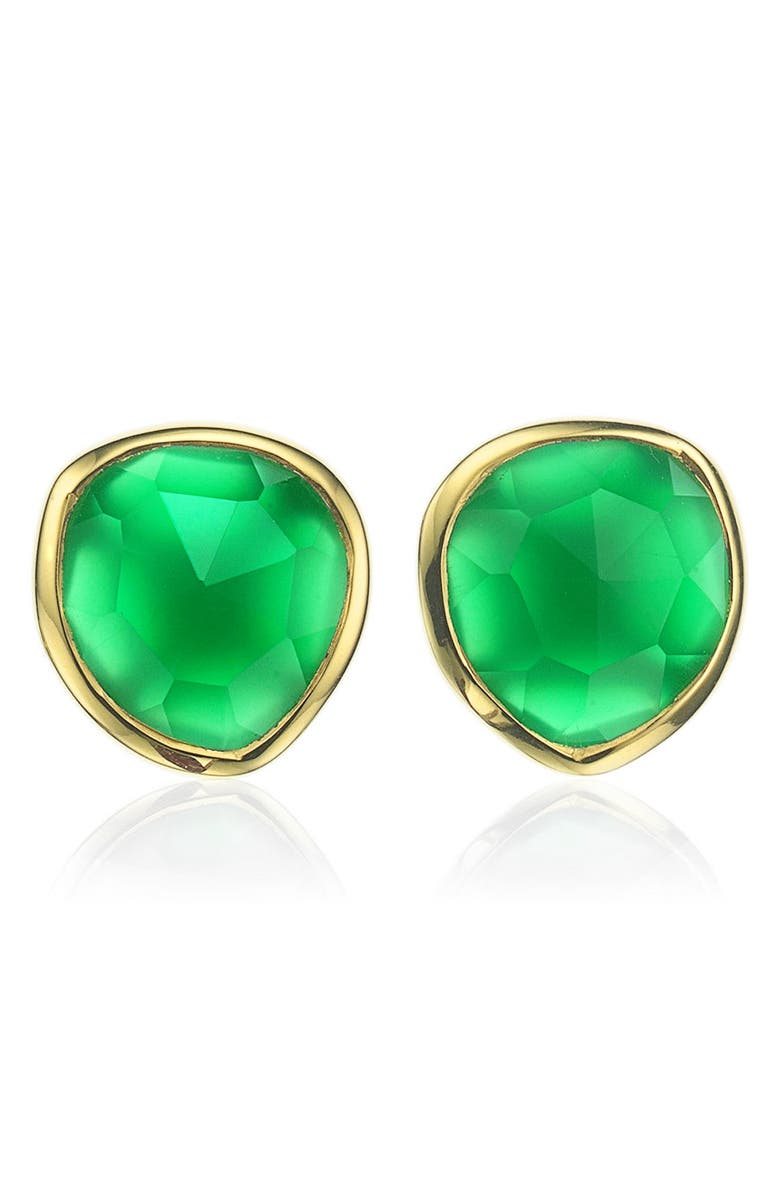 MONICA VINADER Siren Stud Earrings, Main, color, GOLD/ GREEN ONYX