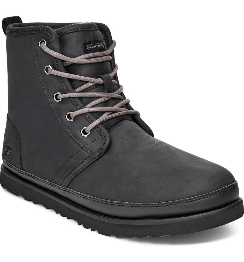 UGG<SUP>®</SUP> Harkley Plain Toe Waterproof Boot, Main, color, BLACK