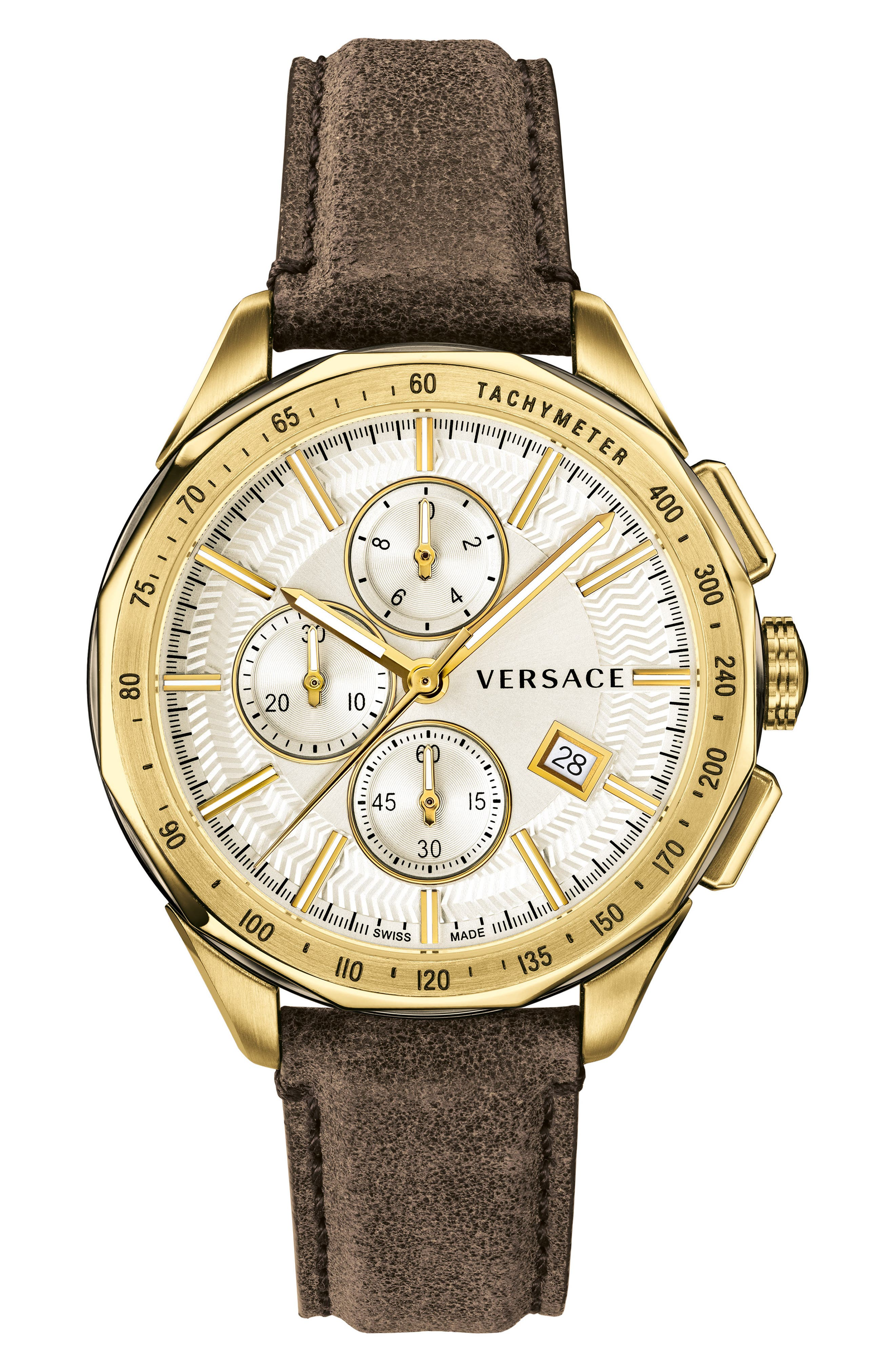 Glaze Chronograph Leather Strap Watch, 44mm, Main, color, BROWN/ SILVER/ GOLD