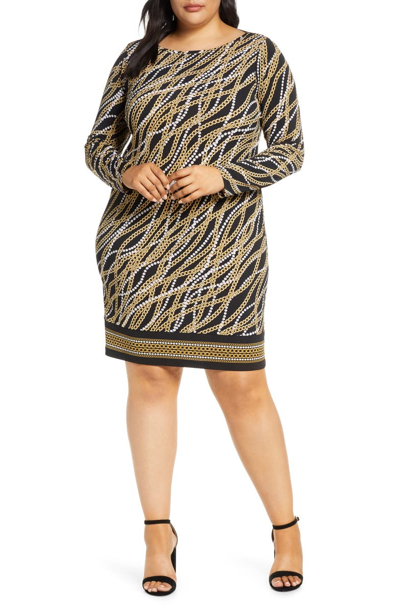 MICHAEL MICHAEL KORS Link Strand Long Sleeve Shift Dress, Main, color, 001