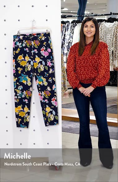 Floral Print Straight Leg Jeans, sales video thumbnail