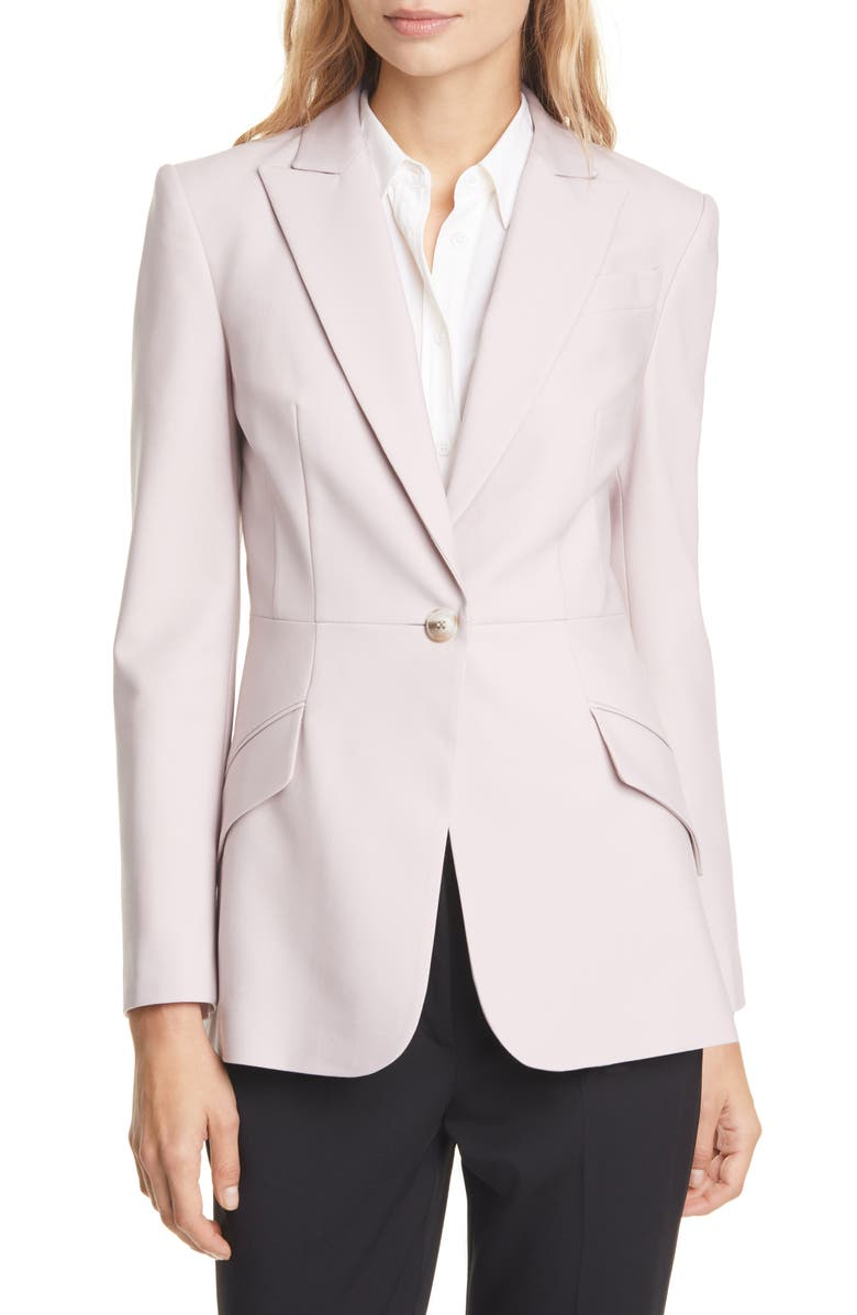 JUDITH & CHARLES Milano Stretch Wool Blazer, Main, color, SOFT PINK