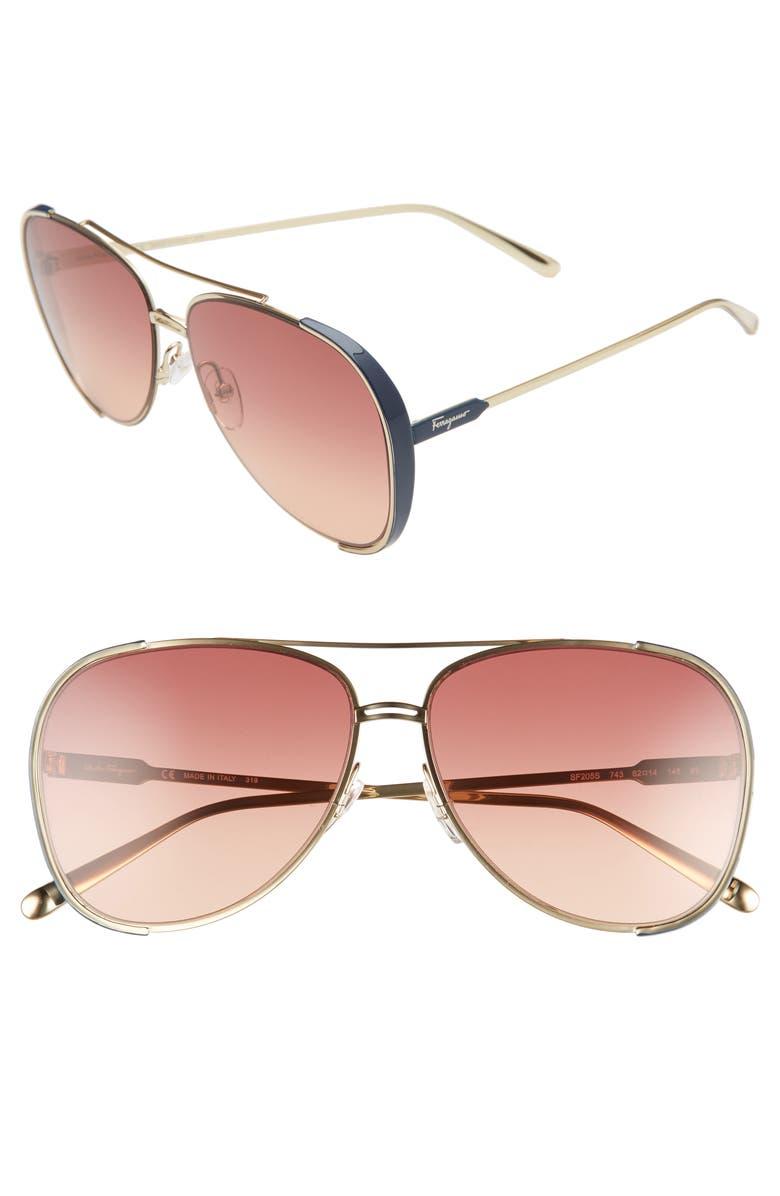 SALVATORE FERRAGAMO 62mm Aviator Sunglasses, Main, color, GOLD/ BLUE