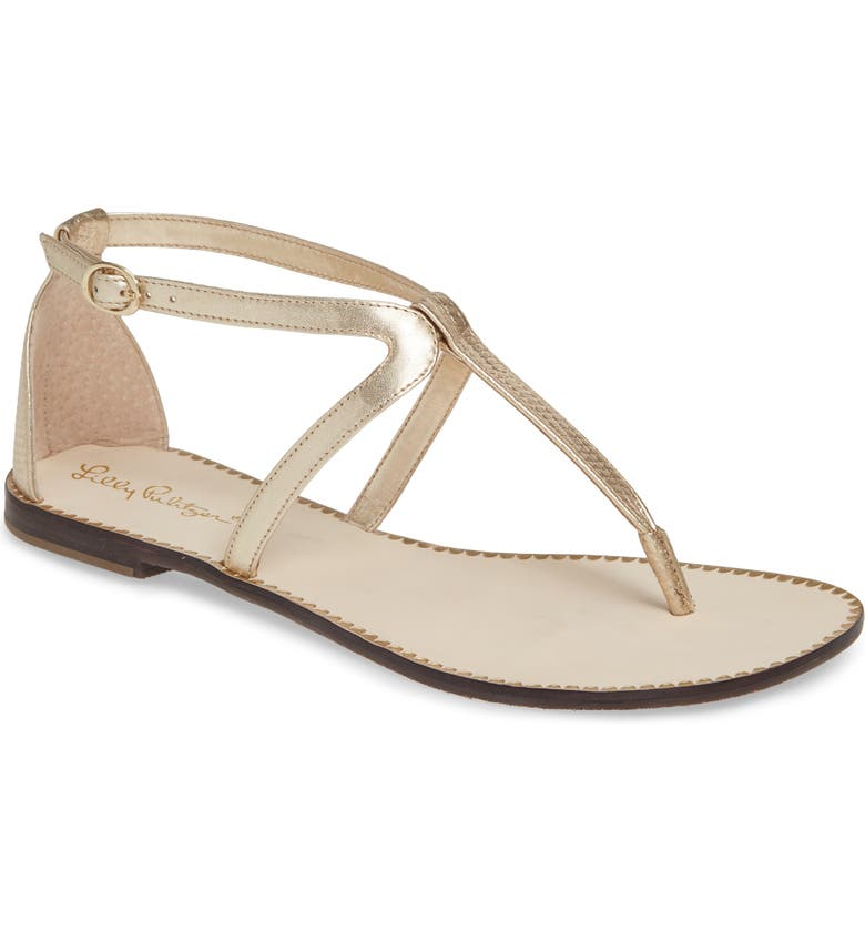 LILLY PULITZER<SUP>®</SUP> Heather Sandal, Main, color, GOLD SNAKE PRINT LEATHER