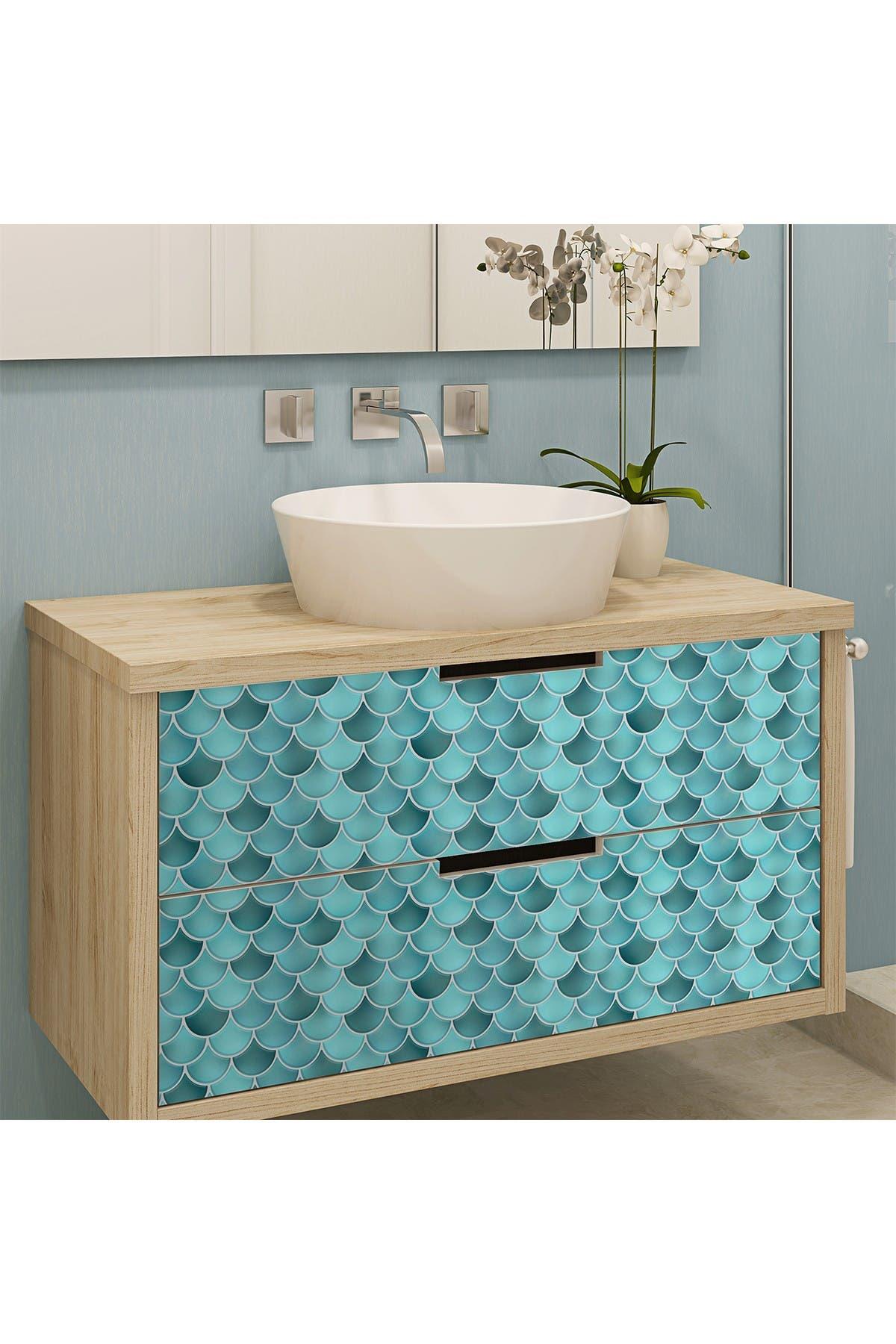 Image of WalPlus Fresh Turquoise Glossy 3D Metro Sticker Tiles Contemporary Eclectic Wall Splashbacks Mosaics