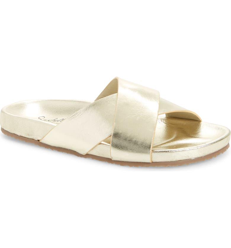 SEYCHELLES Lighthearted Slide Sandal, Main, color, GOLD LEATHER