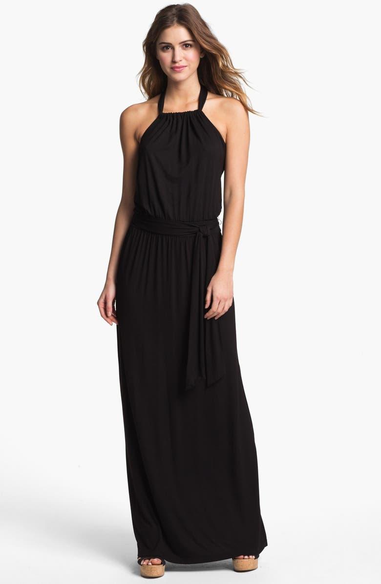 CASLON<SUP>®</SUP> Halter Knit Maxi Dress, Main, color, 001