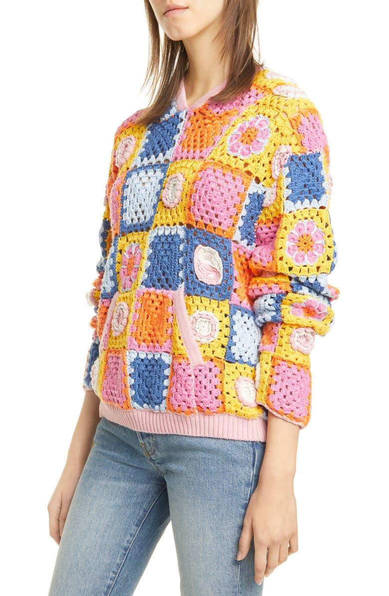 STAUD Calla Crochet Hoodie, Main, color, PASTEL MULTI