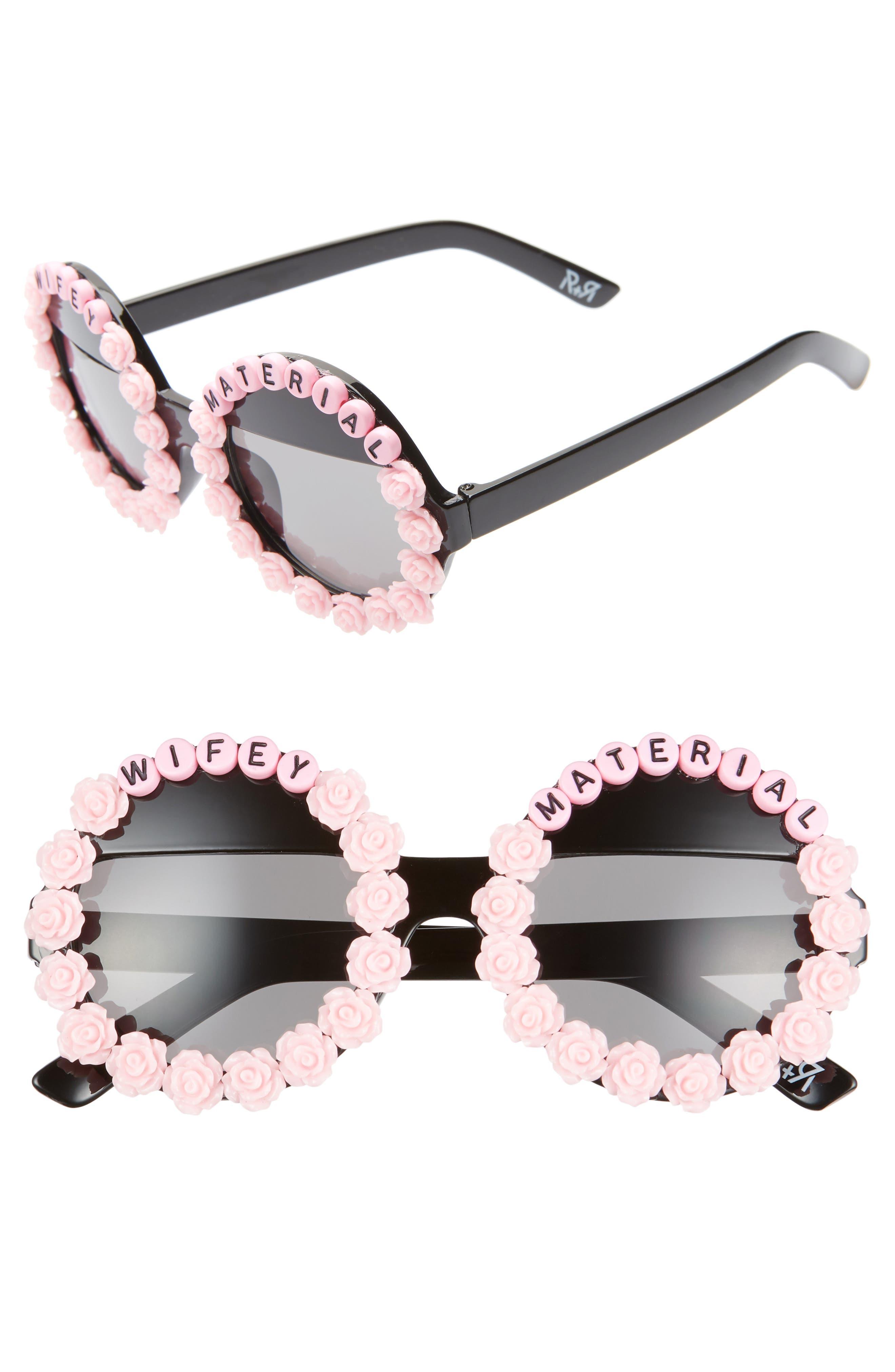 Rad + Refined Wifey Material Flower Round Sunglasses - Pink/ Black