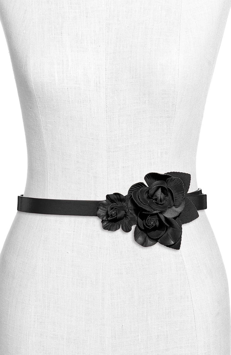 TARNISH 'Flower' Faux Leather Belt, Main, color, 001