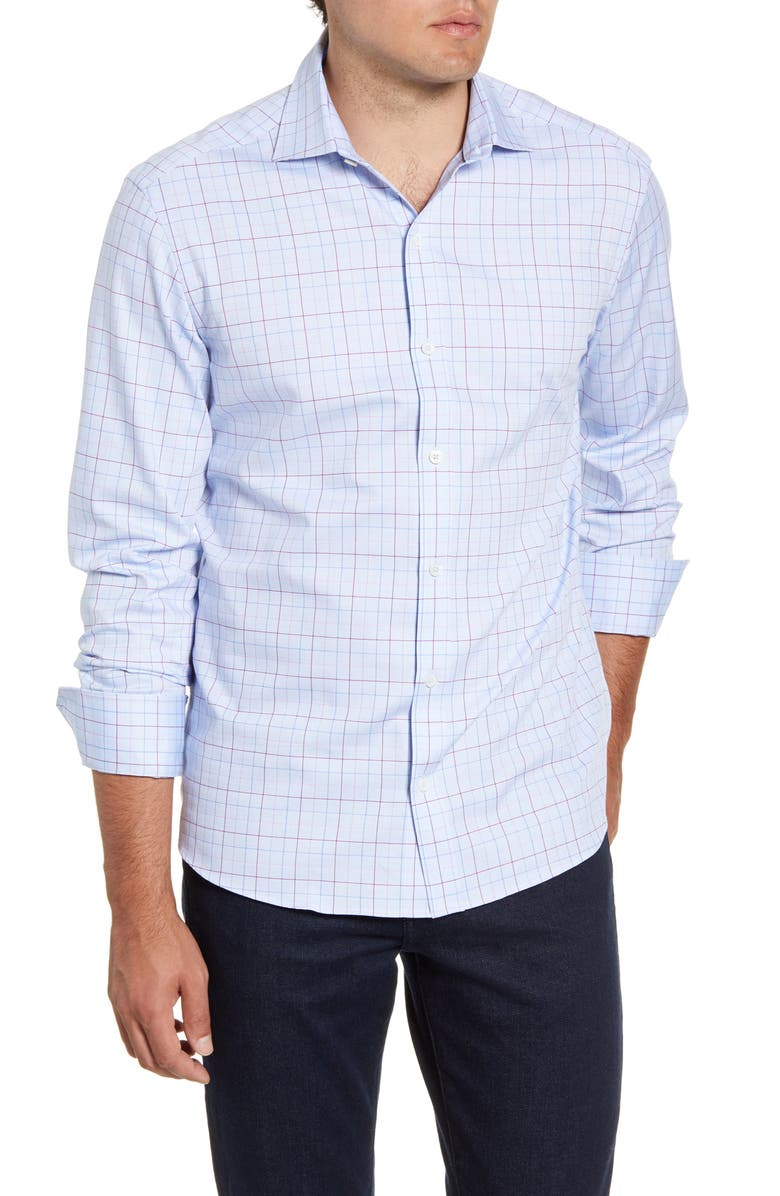 BUGATCHI Shaped Fit Check Button-Up Sport Shirt, Main, color, SKY