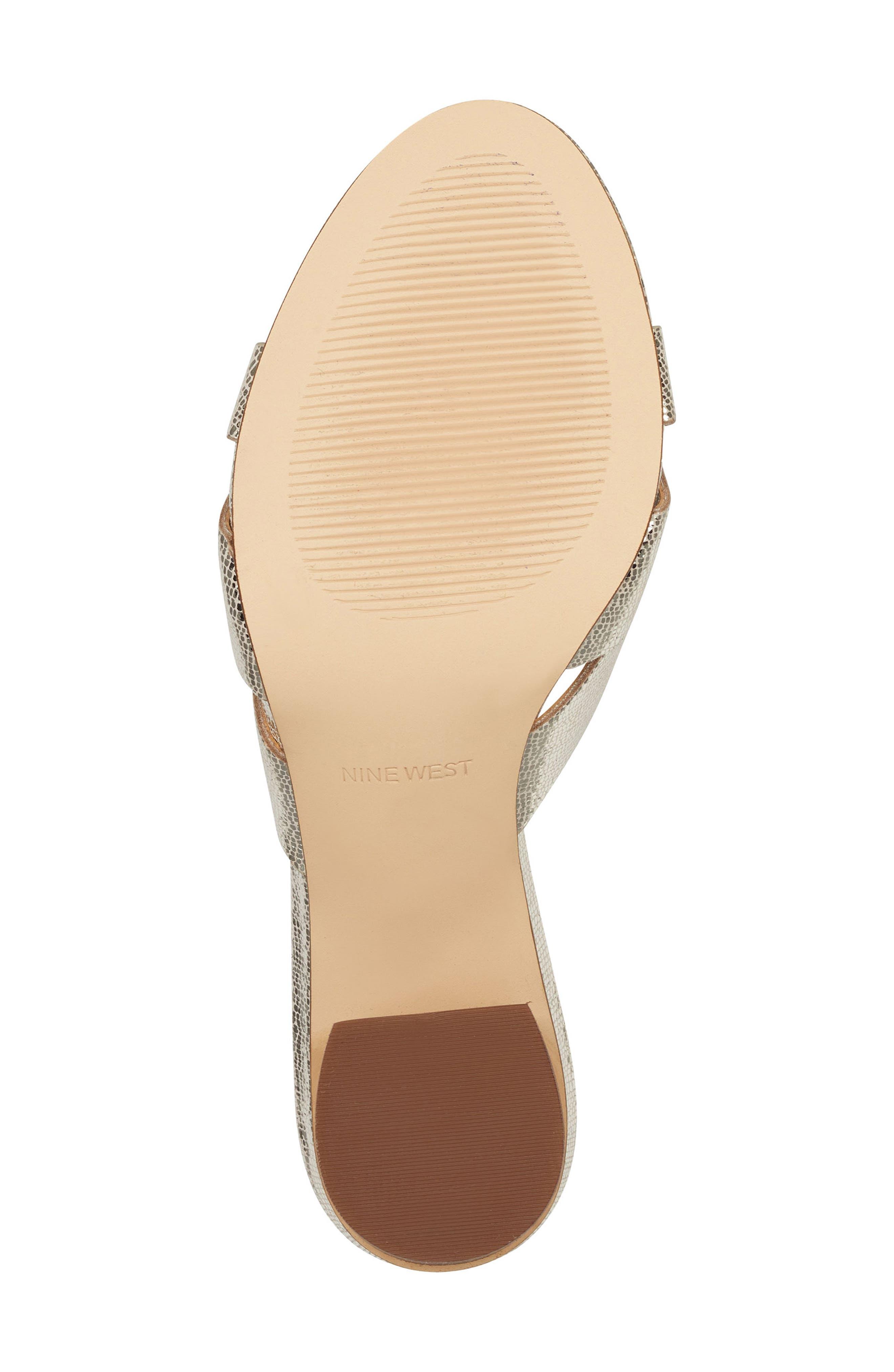 ,                             Nevaeh Cutout Slide Sandal,                             Alternate thumbnail 5, color,                             PLATINUM PRINT LEATHER