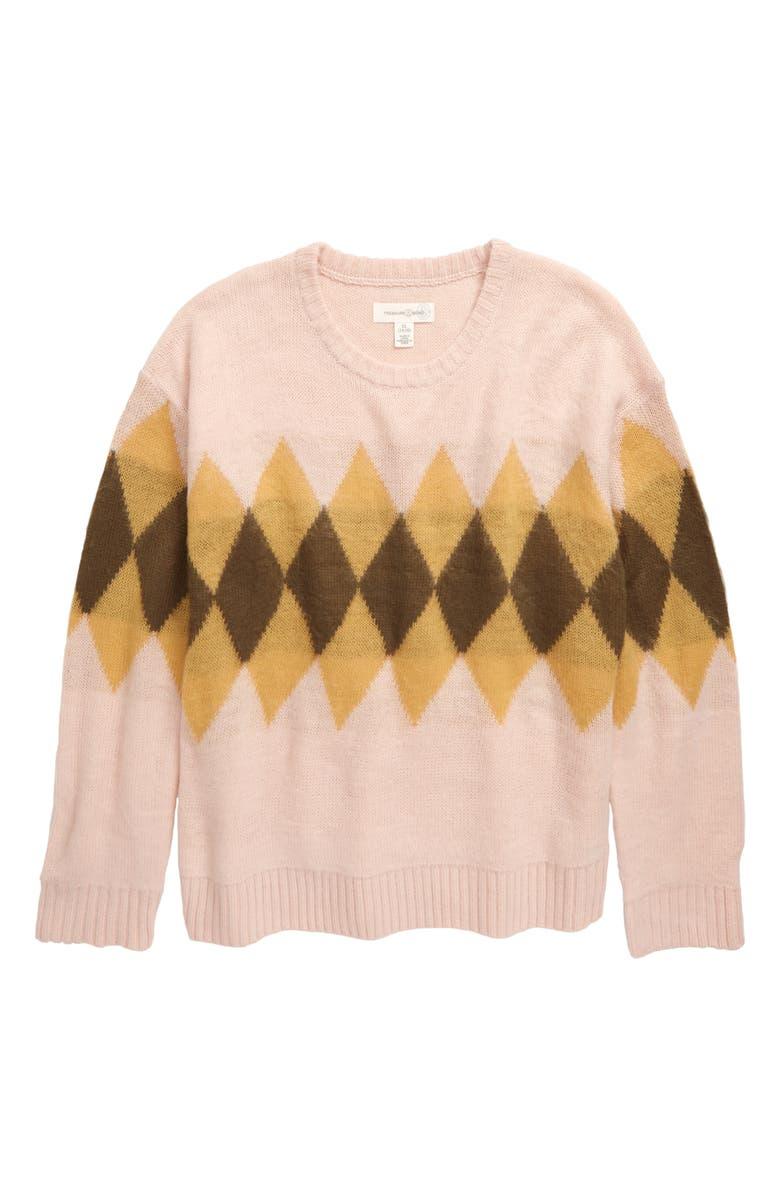 TREASURE & BOND Pattern Play Sweater, Main, color, PINK SMOKE DIAMONDS