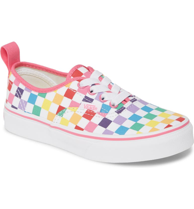 VANS Authentic Checkerboard Elastic Lace Sneaker, Main, color, RAINBOW/ TRUE WHITE