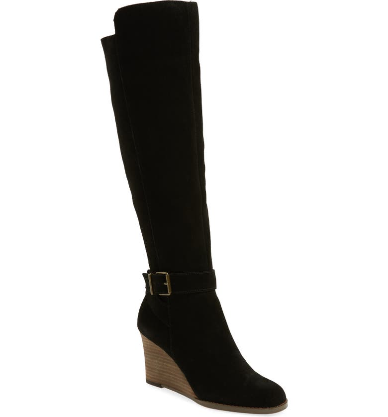 SOLE SOCIETY Paloma Knee High Boot, Main, color, BLACK/ BLACK SUEDE