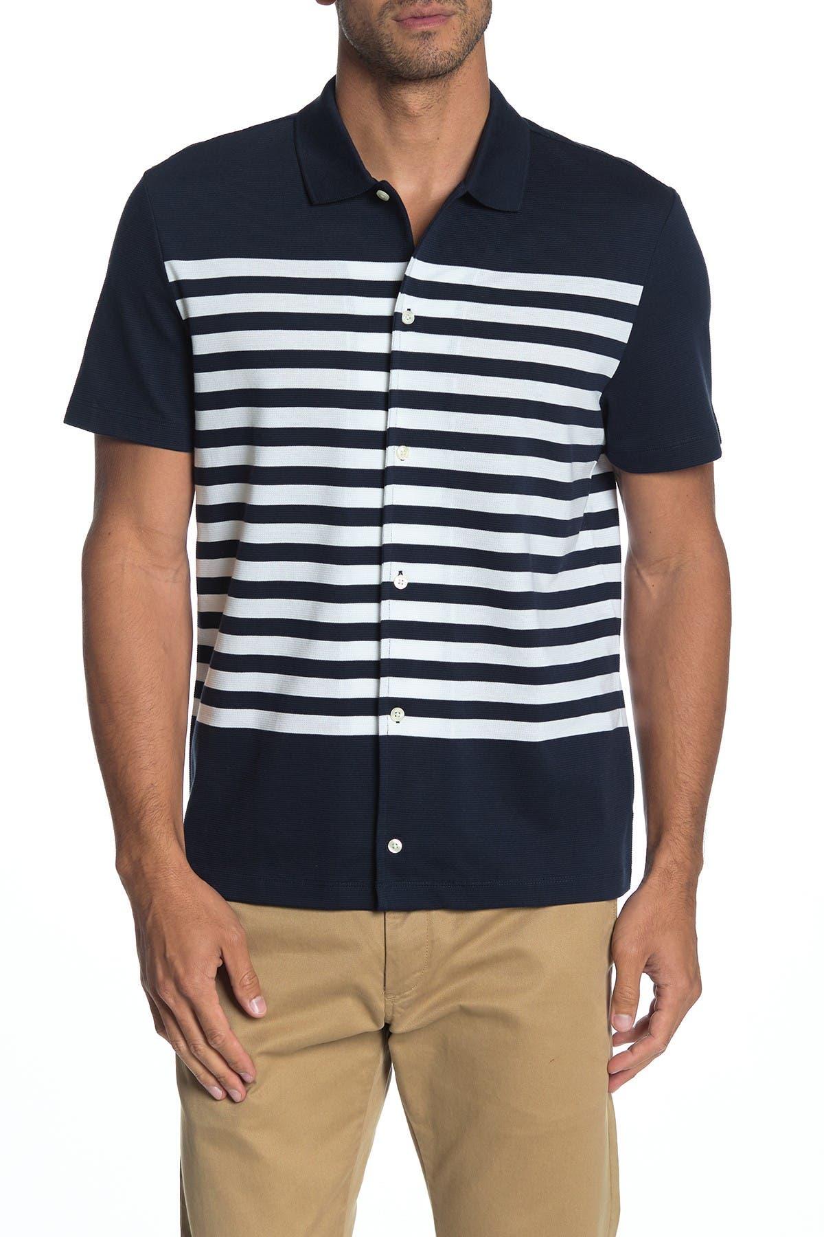 Image of Michael Kors Striped Short Sleeve Pique Shirt