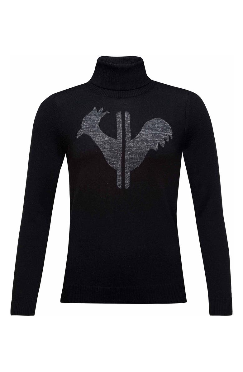 ROSSIGNOL Classic Merino Wool Turtleneck Sweater, Main, color, 200 - BLACK