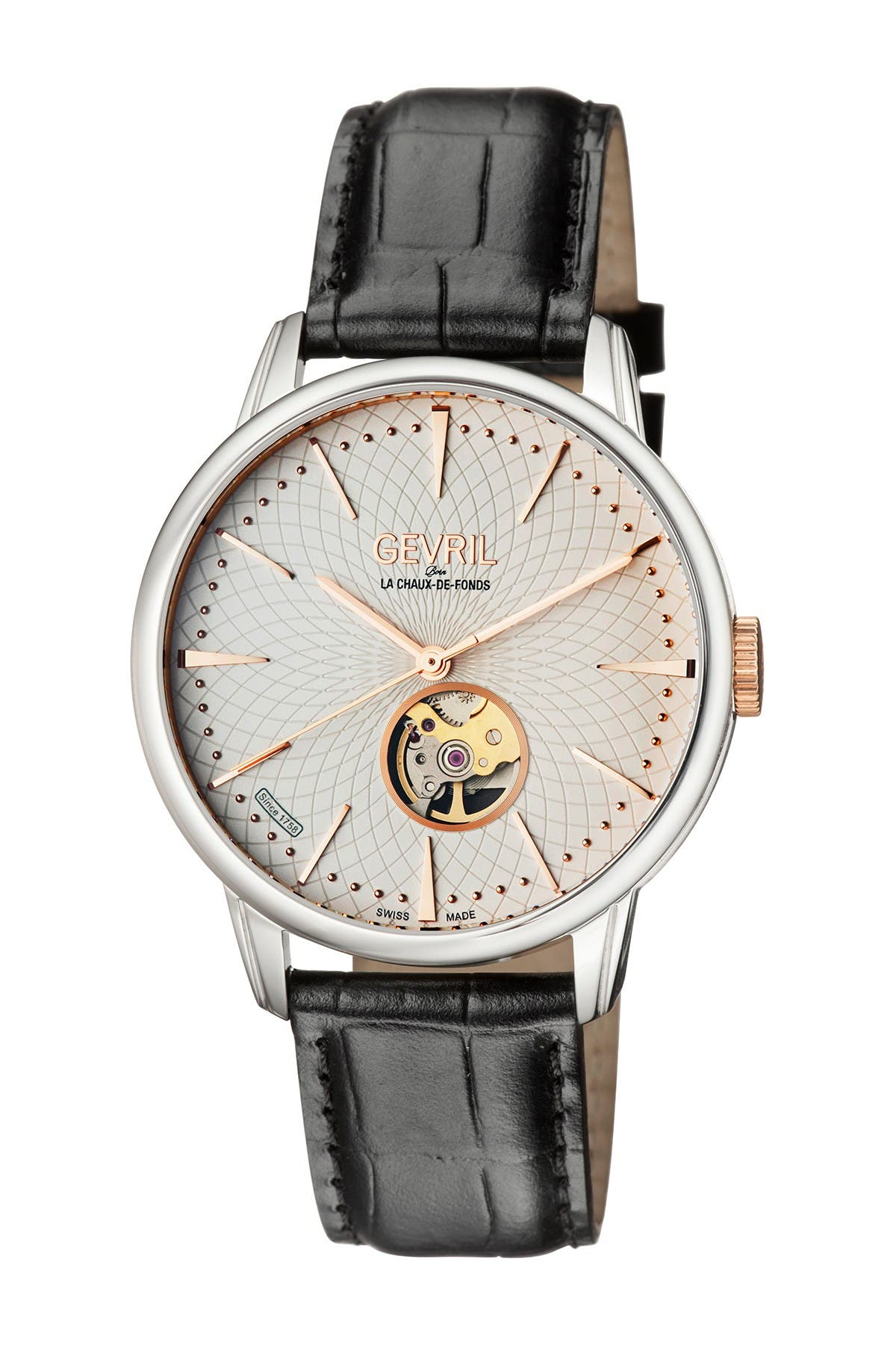 Image of Gevril Men's Mulberry Swiss Automatic Embossed Leather Strap Watch, 41mm