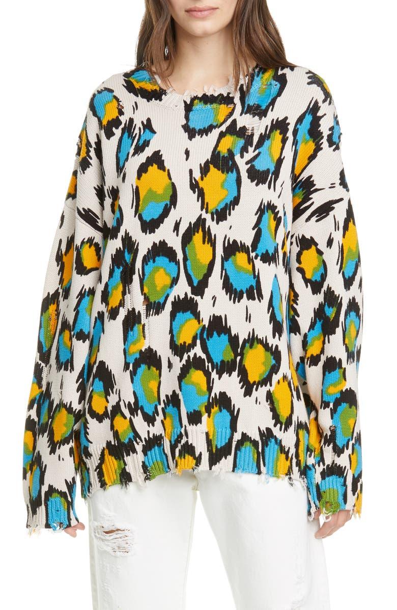 R13 Leopard Distressed Oversized Sweater, Main, color, MULTICOLOR LEOPARD