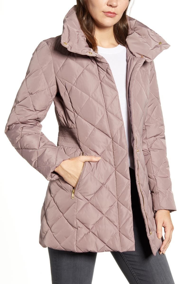 COLE HAAN SIGNATURE Quilted Down & Feather Coat, Main, color, MAUVE