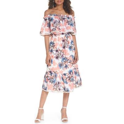 Fraiche By J Off The Shoulder Tiered Midi Dress, Pink