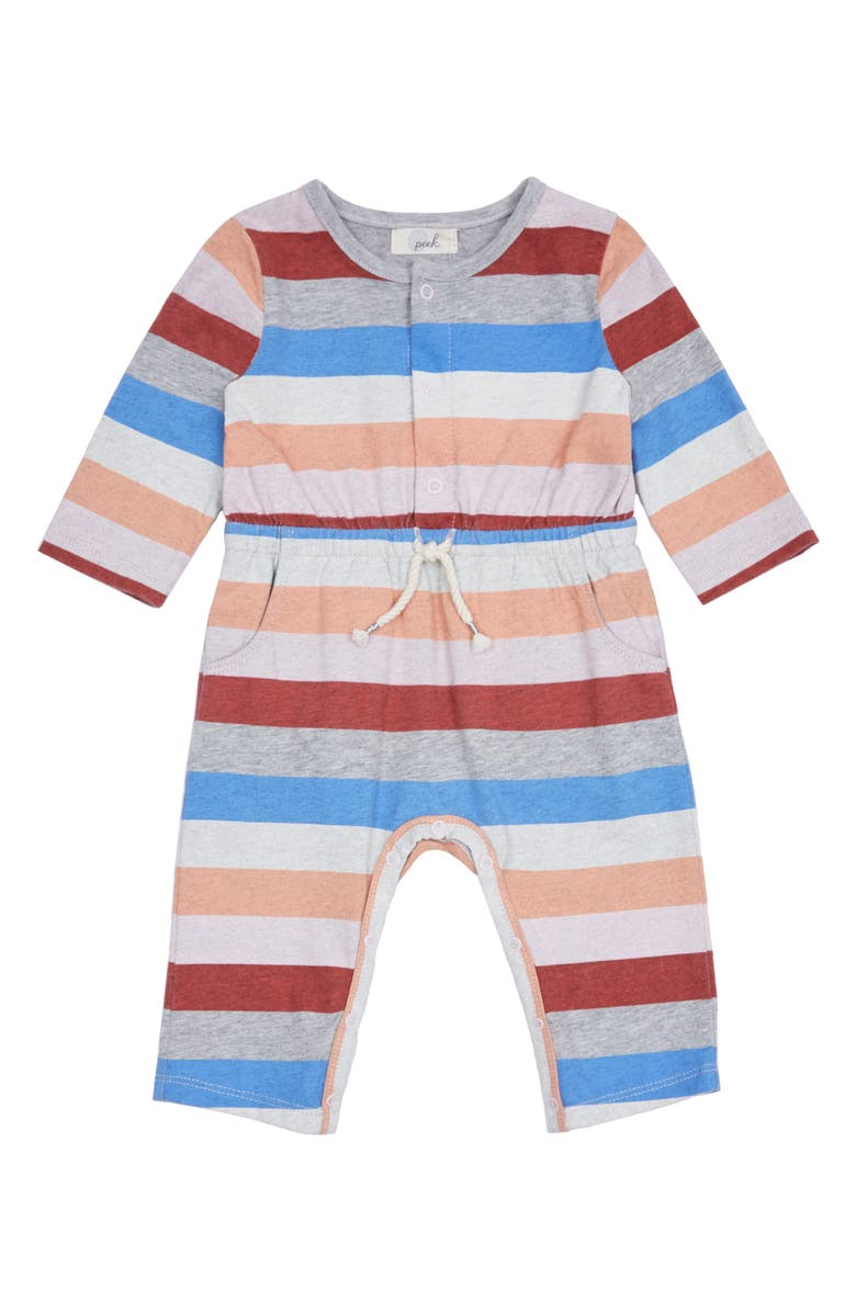 PEEK ESSENTIALS Maisy Rainbow Stripe Romper, Main, color, PINK STRIPE